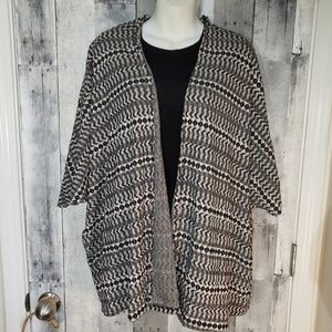 Divided open front cardigan sweater size large